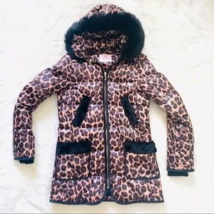 Juicy Couture Leopard Cheetah Puffer Coat Jacket